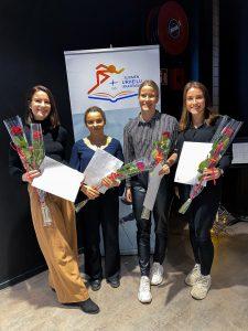 URA-apurahansaaneet urheilijat Rosanna Toivonen, Tuuve Häkkinen, Katri Pohjakallio ja Ann-Marie Marschan.